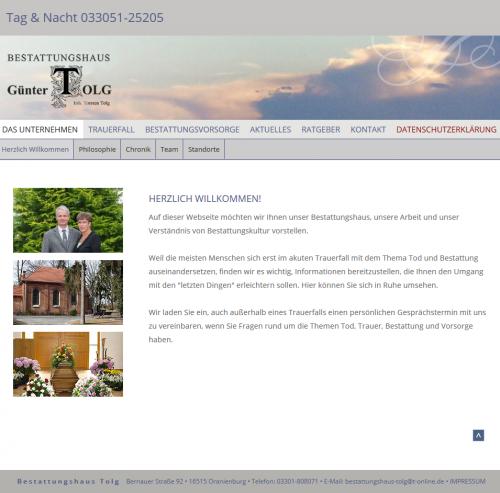 Firmenprofil von: Ihr Experte für Trauerdruck in Oranienburg: Bestattungshaus Günter Tolg